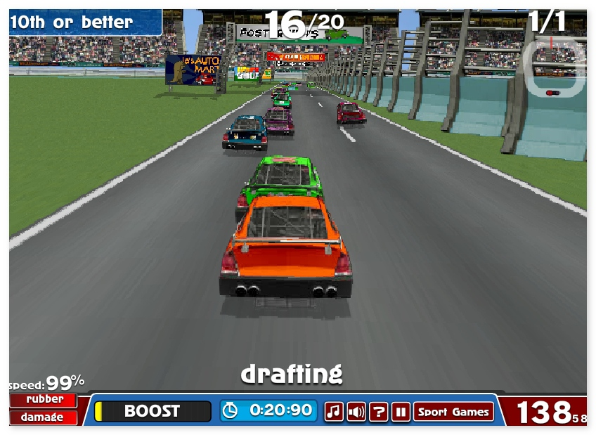 American racing nascar car racing game online free games for Play motor racing games