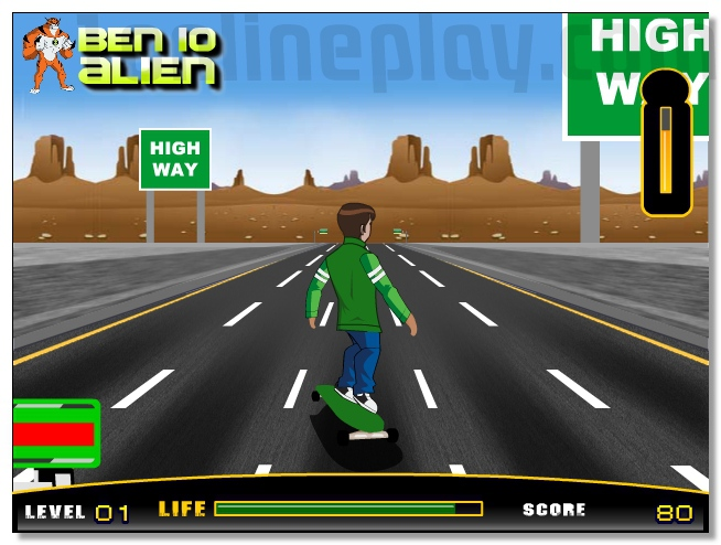 Ben10 skateboard ride a skate racing on the road image play free