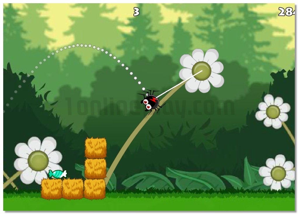Gluttonous spider collect candy in the forest ballistic game image play free