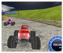 Big monster truck 3D annular dirt racing nascar rally on the truck