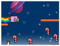Nyan Cat Lost in Space funny arcade game about Internet meme Nyan Cat