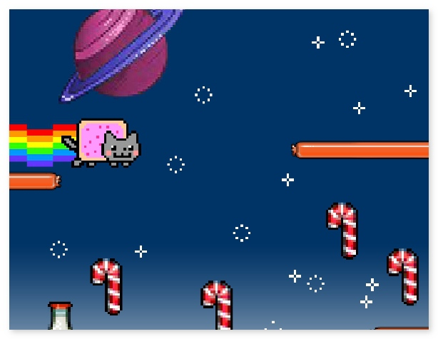 Nyan Cat Lost in Space funny arcade game about Internet meme Nyan Cat image play free