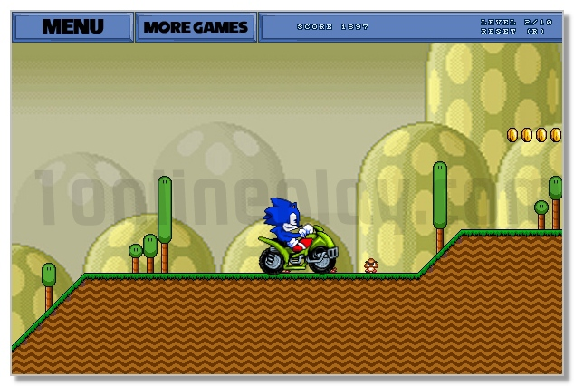 Super Sonic in Super Mario Land adventure moto racing game image play free