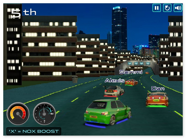 Street Race NASCAR racing on the night streets image play free