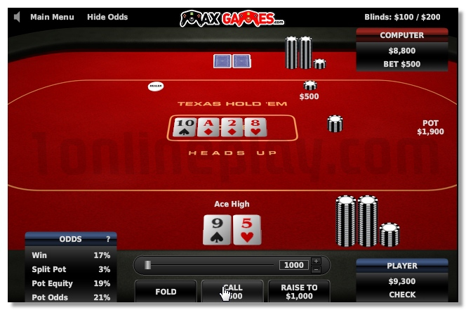 Texas Holdem Poker Heads Up card game image play free