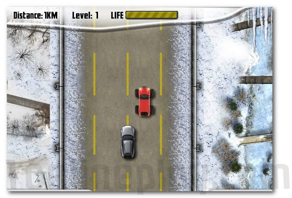 Winter Pursuit racing game car on the icy road image play free