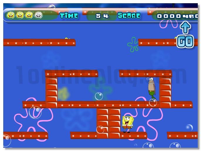 Sponge Bob Adventure jumping under water platform cartoon game image play free